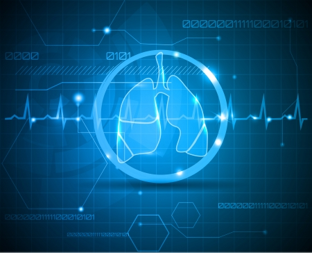 Lungs and heart beat monitoring line  Scientific and medical wallpaper  Concept of new medical technologies  Vector