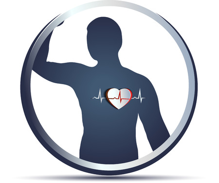 인간의 실루엣과 추상 심장, 흰색에 고립 심전도