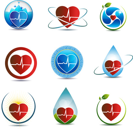 Symbole collection Santé concept de soins, forme de coeur coeur humain et le concept de cardiogramme de guérison de la nature impliqués dans les soins de santé du système cardio-vasculaire Banque d'images - 23074623