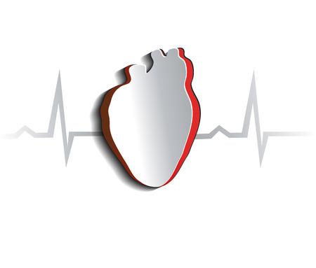 人間の心、心臓の形と心電図を抽象的なデザイン カットの解剖学  イラスト・ベクター素材