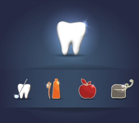 flossing: Healthy tooth care illustration   Brushing, flossing, healthy food and dental visits  Beautiful bright color combinations  Illustration