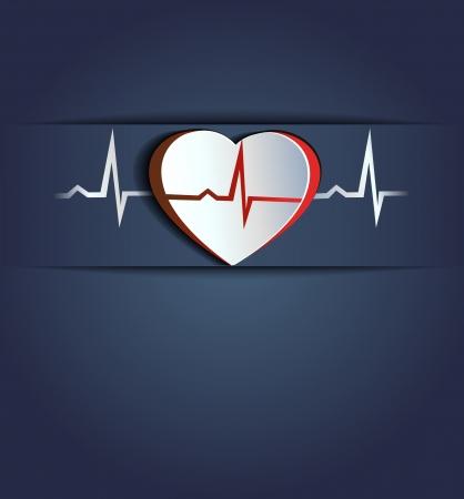 infarctus: Coeur et le rythme cardiaque concept c?ur humain sain Bleu