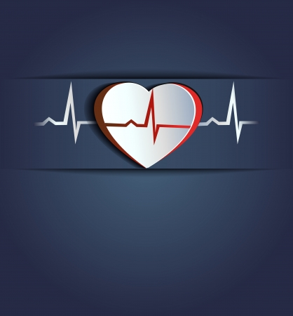 Heart and heart beats  Blue Healthy human heart concept  Stock Vector - 23074636