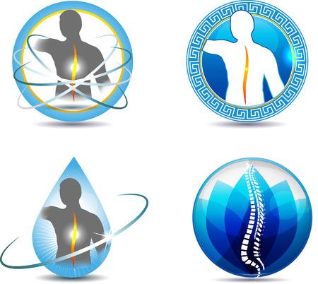 human spine: Human spine, vertebral column health care design. Abstract medical symbols.