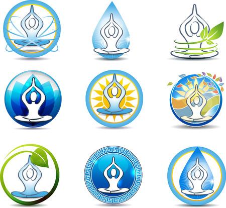 medicamentos: Hermosa yoga, relajaci�n s�mbolos. Naturaleza involucrado en la salud humana.