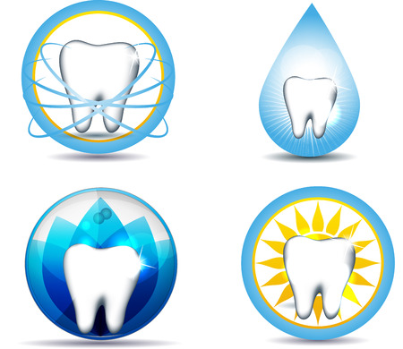 Healthy teeth symbols, various designs. Beautiful and brigt designs. Isolated on a white. Vector