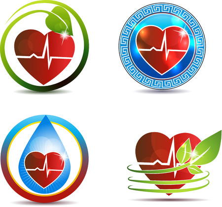 cardiovascular disease: Abstract human anatomy of heart and heart beats, beautiful symbol set  Nature and medicine concept  Isolated on a white background  Illustration
