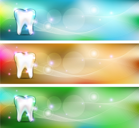 Dental banners, various colors. Beautiful and bright designs.  Vector