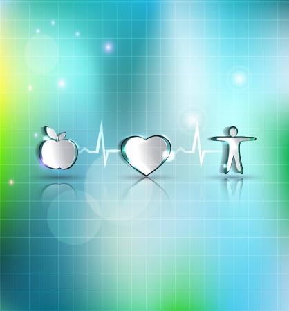 infarctus: Medical concept illustration de soins de sant�. Une alimentation saine et de remise en forme m�ne � c?ur et la vie saine. Symboles connect�s avec la ligne de surveillance de la fr�quence cardiaque. Belle conception lumineux. Illustration