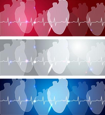 infarctus: Soins m�dicaux concept illustration c?urs humains de la sant� et des banni�res de cardiogramme Belle conception lumineuse