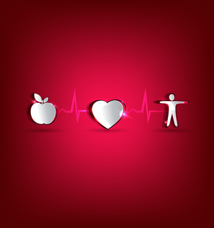 Medical health care concept illustration  Healthy food and fitness leads to healthy heart and life  Symbols cut out of paper and connected with heart rate monitoring line  Beautiful bright design  Vector