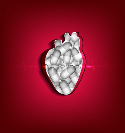 Cut out human heart, pills inside the heart  Medical health care concept illustration  Beautiful bright design  Vector