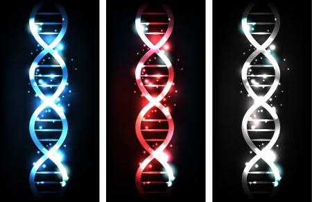 Colorful sparkling gene chain banners, blue, red and neutral colors  Illustration