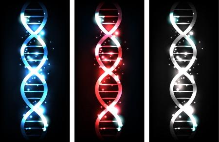 gene: Kleurrijke sprankelende gen keten banners, blauw, rood en neutrale kleuren Stock Illustratie