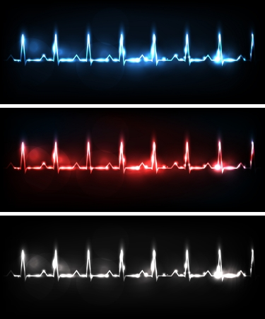 Cardiogram banners, various colors, bright and bold designs  Illustration