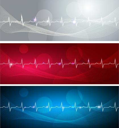 Banners Cardiograma, diversos colores brillantes y diseños audaces Ilustración de vector