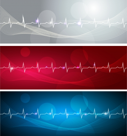 angina: Cardiogram banners, various colors, bright and bold designs  Illustration