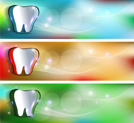 Dental banners, various colors  Beautiful and bright designs  Cut out tooth of colorful background  Vector