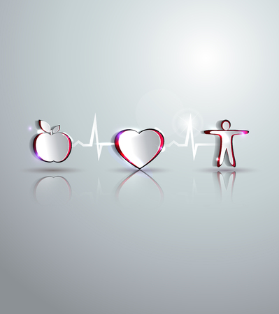 Medical health care design  Healthy food and fitness leads to healthy heart and life  Symbols connected with heart rate monitoring line   Vector