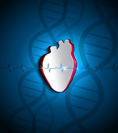 atherosclerosis: Human heart health care conceptual design  DNA spiral at the background and heart beat monitoring line at the front of the heart