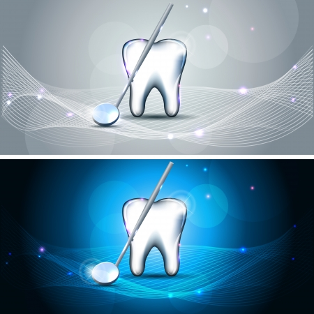 dental mirror: Beautiful dental designs, banners  White tooth and mirror  Bright blue and sparkling grey color banners  Illustration