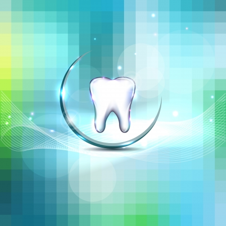 Beautiful dental design  Clean and fresh feeling, white tooth and blue background  Vector