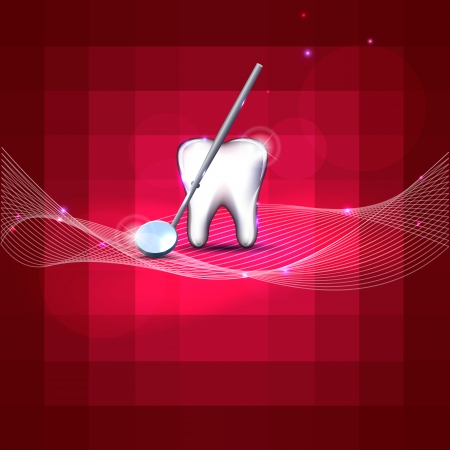 dental mirror: Beautiful dental design  White tooth and mirror  Bright red color, bright and bold design  Illustration