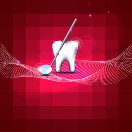 brillante: Bellissimo design dentale denti bianchi e specchio colore rosso brillante, luminoso e design audace
