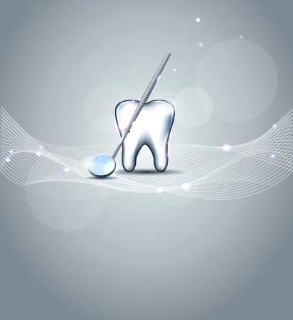 dental mirror: Beautiful dental design  White tooth and mirror, shining design