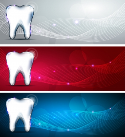 color backgrounds: Beautiful dental design collection  Blue, red and light grey color backgrounds and white tooth