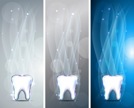 Beautiful tooth banners, three colors. Bright and shining designs. Luxury dental care. Vector