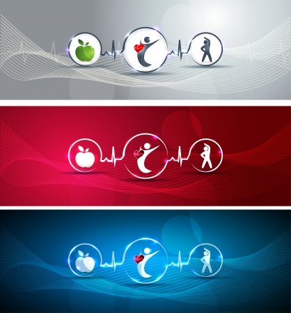Medical health care concept illustration set. Human with healthy heart. Healthy food and fitness leads to healthy heart and life. Symbols connected with heart rate monitoring line. Vector
