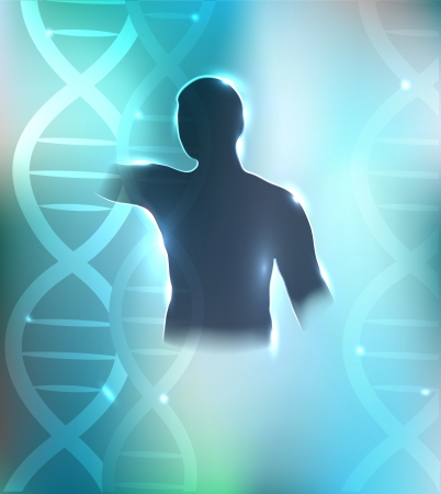 Human silhouette and DNA chains at the background. Health care design. Beautiful bright blue color. Vector