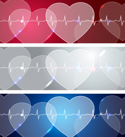 angina: Banners médicos, varios colores, diseños brillantes y audaces. Resumen corazones humanos y la línea de la vida. Vectores