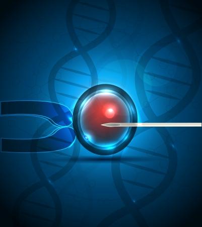 ovary: La fecundaci�n artificial. Inyecci�n intracitoplasm�tica de espermatozoides. Espirales de ADN en el fondo, color azul profundo.