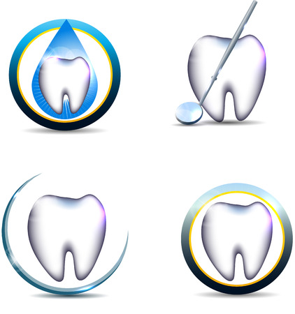 white teeth: Healthy teeth symbols, various designs. Beautiful and bright designs. Isolated on a white background. Tooth with mirror, tooth in the drop and other designs. Illustration