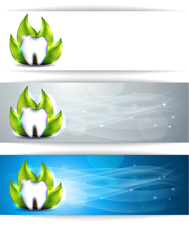 Dental banners, various colors, tooth and leaf. Beautiful and bright designs.  Vector