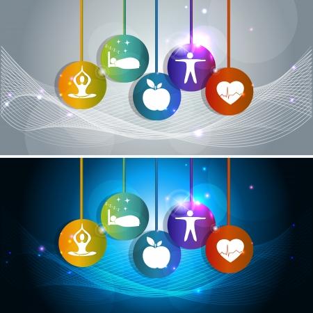 infarctus: Les soins de sant� concept illustration. Symboles de bien-�tre, la sant� du coeur, de la nourriture saine, un bon sommeil, le yoga et la m�ditation. Mode de vie sain conduit � la sant� du coeur. Deux banni�res color�es, fond gris et bleu. Illustration