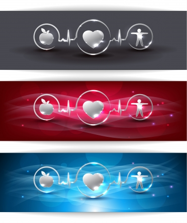 Cardiocascular health care concept. Healthy food and fitness leads to healthy heart. Symbols connected with heart rate monitoring line. Beautiful bright design.