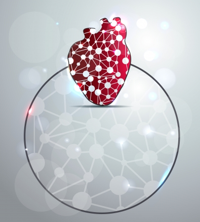 Abstract red heart shape illustration, scientific design. You can add your text in the circle. Vector
