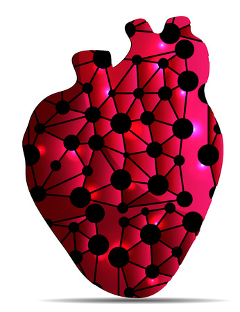 myocardial infarction: Unhealthy heart illustration concept. Isolated on a white background.