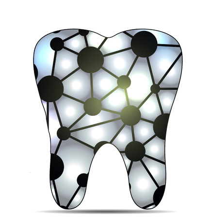 Unhealthy tooth, caries concept.  Isolated on a white background. Vector