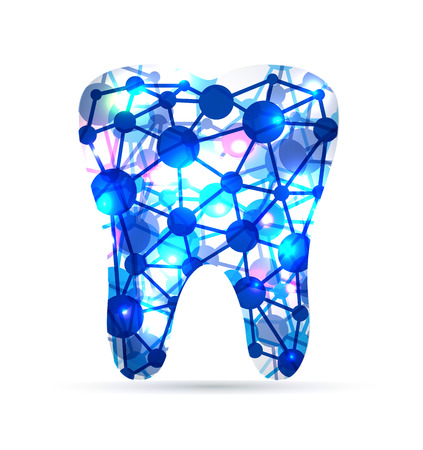 Abstract Tooth of molecules, scientific design. Beatiful blue color. Vector