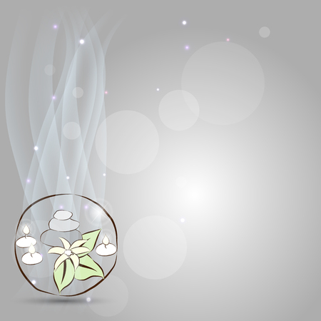 Beautiful spa background, relaxation symbol, stones, flower and candles Vector
