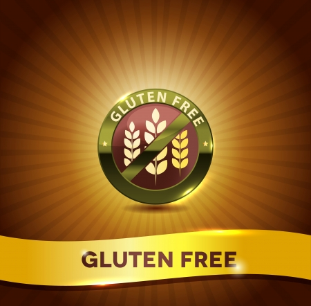gluten: Gluten free symbol and bright background. Harmonic color combinations.