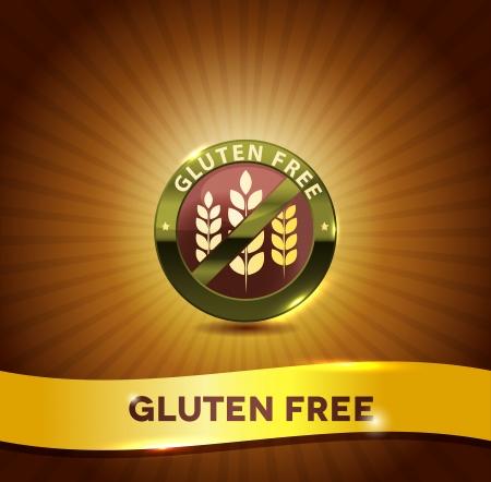 gluten: Gluten free symbol and bright background. Harmonic color combinations.