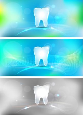 medical center: Beautiful light blue dental banners, three colors. Illustration