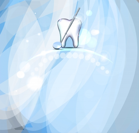 Tooth and mirror, light blue background.