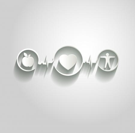 sites web: Soins m�dicaux papier illustration. Une alimentation saine et de remise en forme conduit � c?ur et la vie saine. Symboles li�s � la ligne de surveillance de la fr�quence cardiaque.