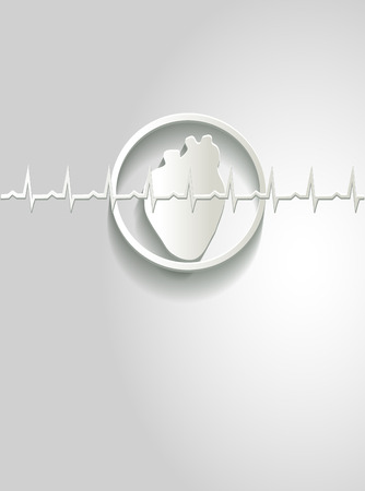 angina: White paper heart and cardiogram at the front. Illustration